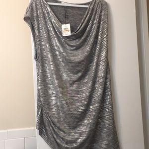 Plus size short silver shirt